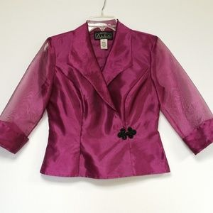 Alex Evenings Raspberry Sequin accent Jacket